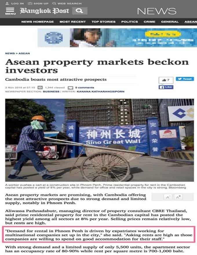 The Peak Cambodia - Bangkok Post Condo Rental Yield