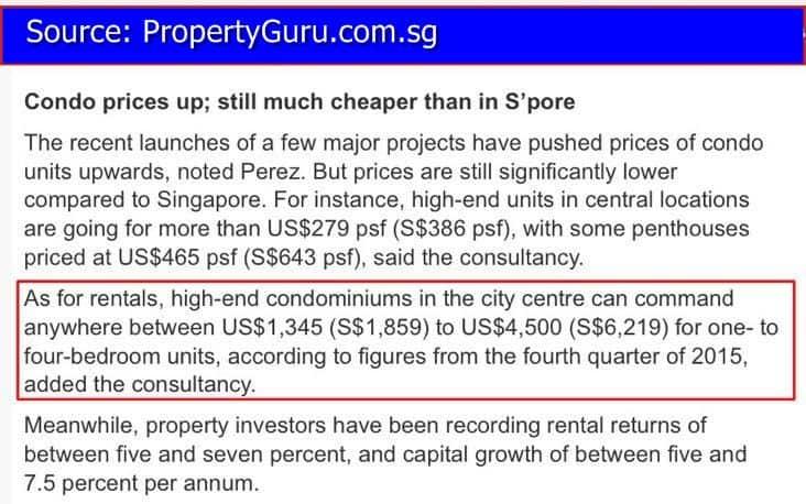 The Peak Cambodia - Condo rental rates