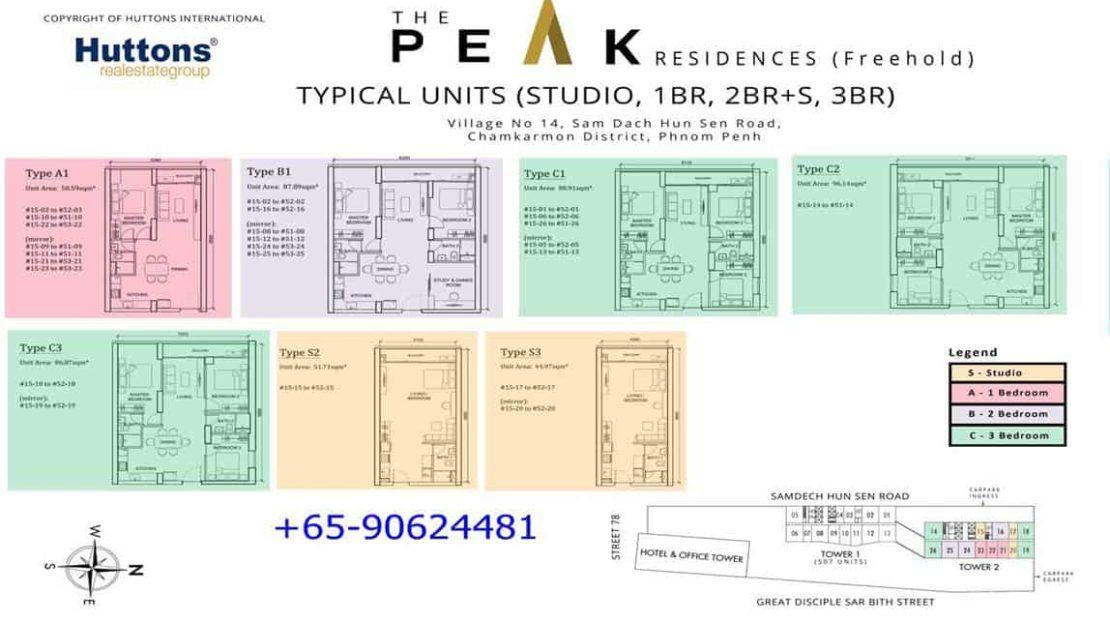 The Peak Cambodia - T2 Studio - 3BR