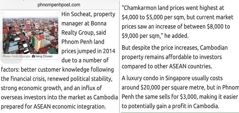 Cambodia Land Price Escalating