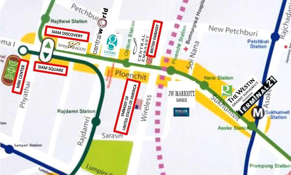 Focus Ploenchit Location Map