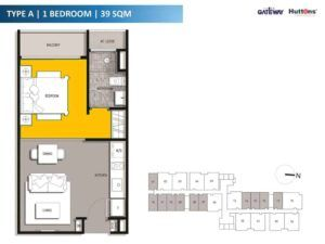 The Gateway Residential 1 Bedroom Floor Plan