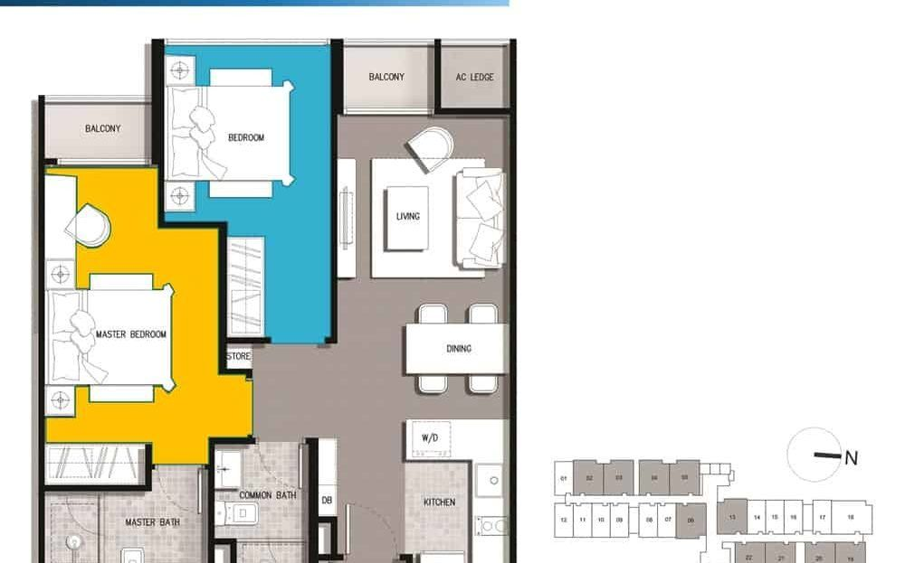 The Gateway Residential 2 Bedroom floor plan