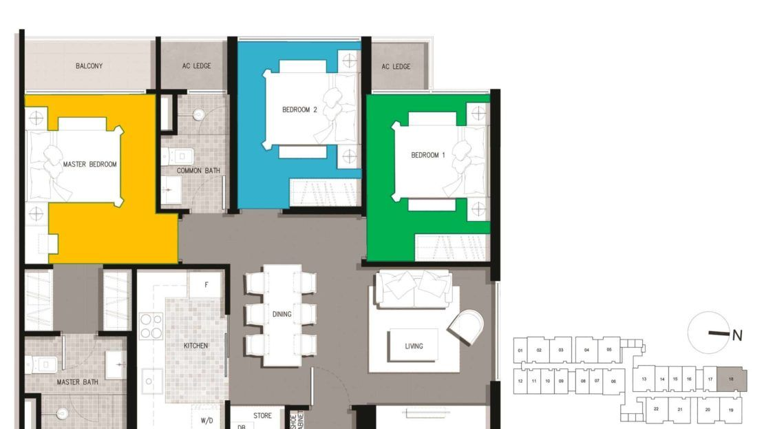 The Gateway Residential 3 Bedroom Floor Plan