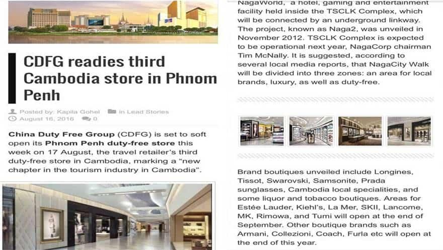 Cambodia Property News - China Duty Free Group