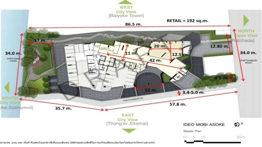 Ideo Mobi Asoke - Site Plan dimension