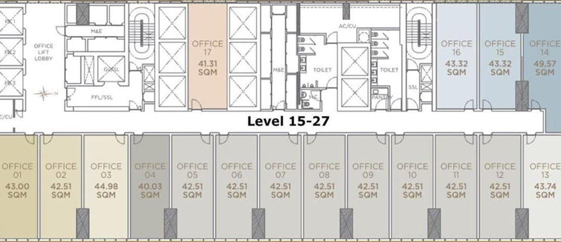The Peak Office Cambodia - L15 - 27 Floor plan