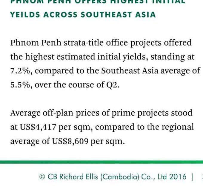 The Peak Office Cambodia - SEA Average Yield