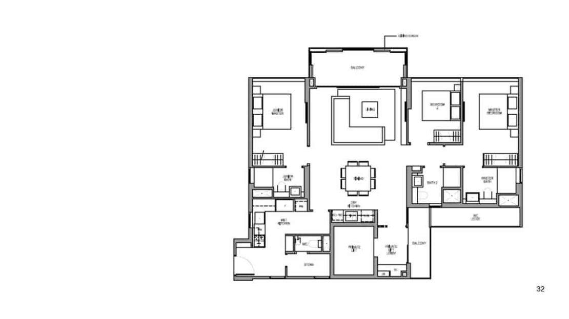 Martin Modern - 3 BR Floor Plan