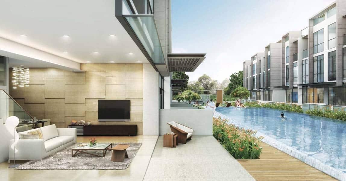 Belgravia Villas - Living room with pool
