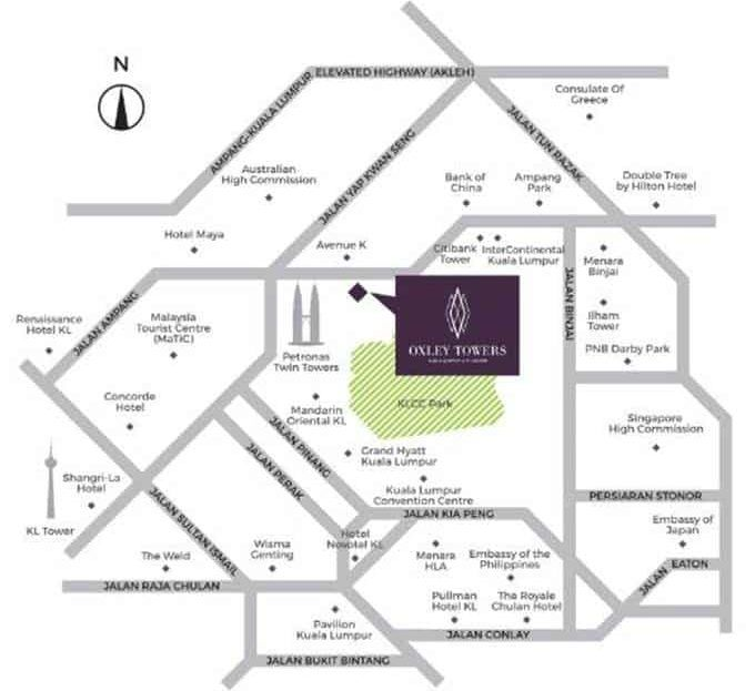 Oxley Towers KLCC - Location Map