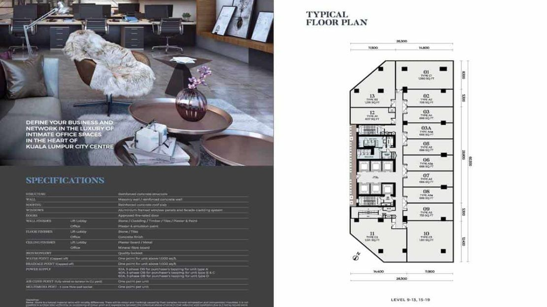 Oxley Towers KLCC - Office Floor Plan