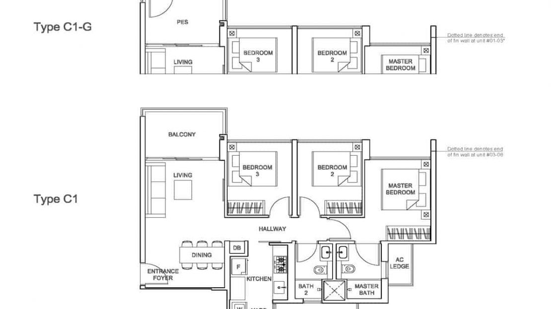Rivercove Residences - Type C1 Floor Plan