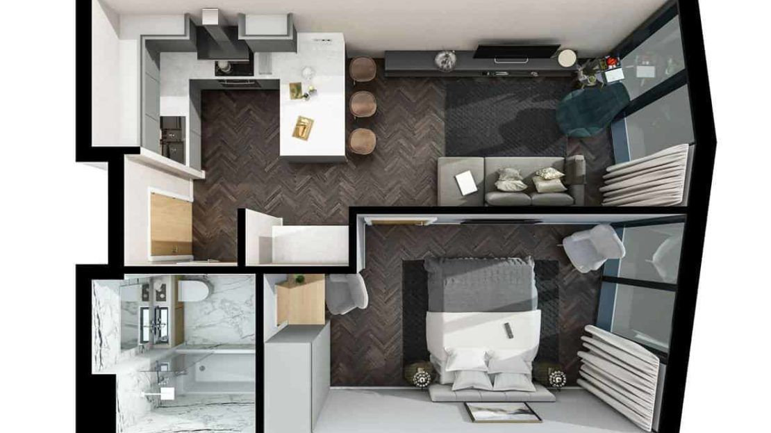 Infinity Waters Liverpool - 1 BR Floor Plan