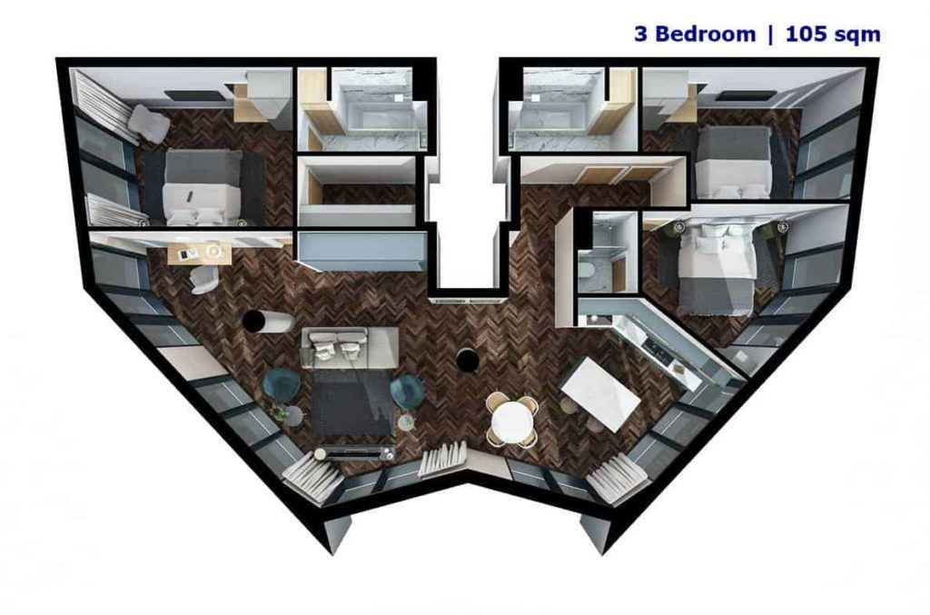 Infinity Waters Liverpool - 3 BR Floor Plan