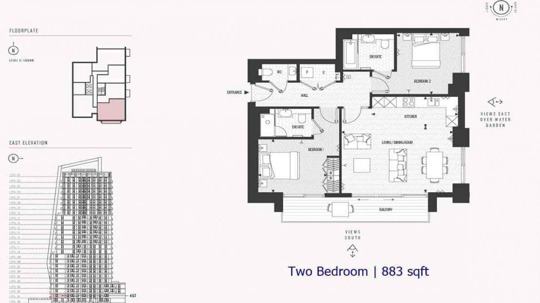 Cashmere Wharf - 2 Bedroom 883 sf