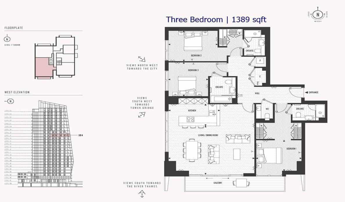 Cashmere Wharf - 3 Bedroom 1389 sf