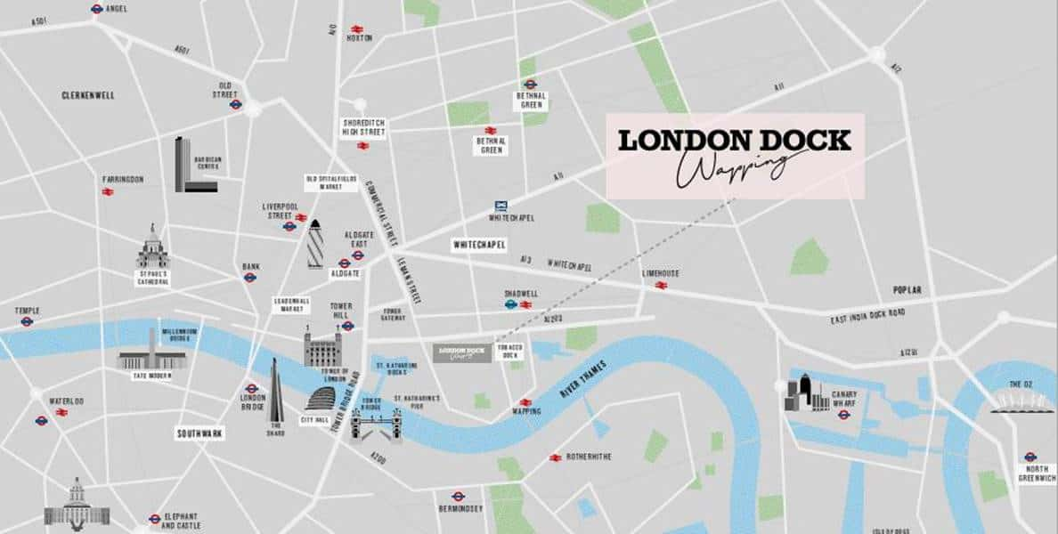 Cashmere Wharf - London Dock Location Map