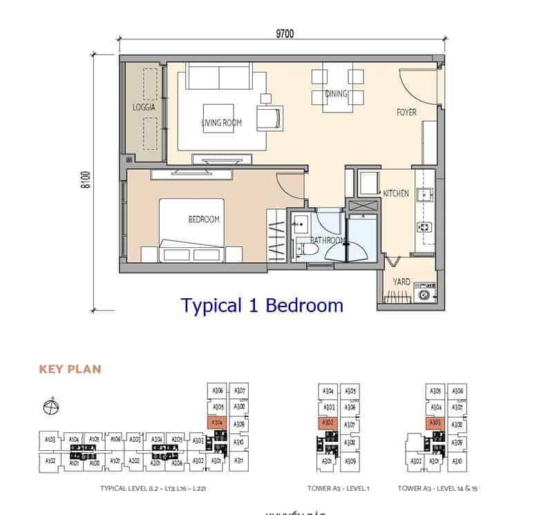 De La Sol - Typical 1 Bedroom