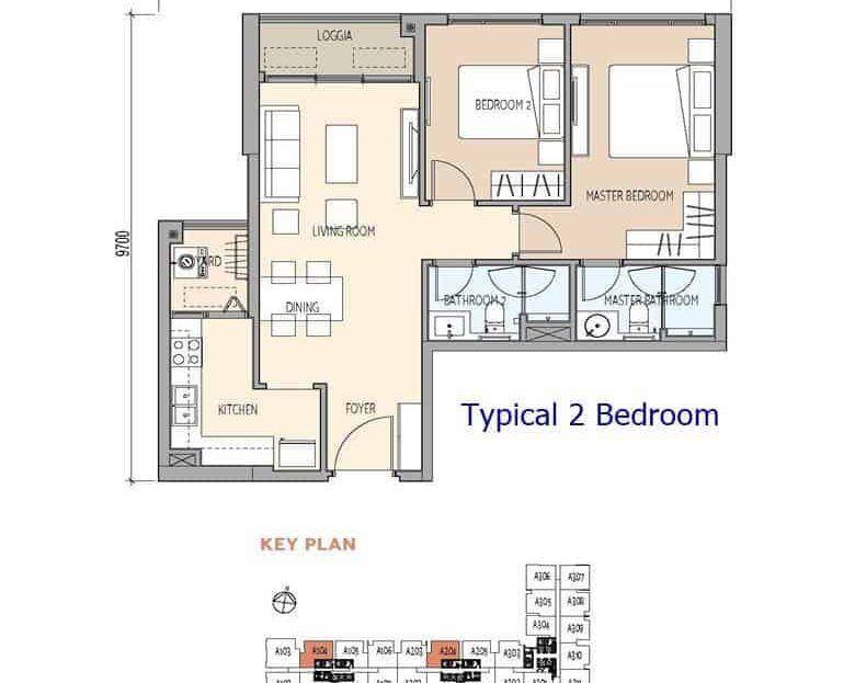 De La Sol - Typical 2 Bedroom