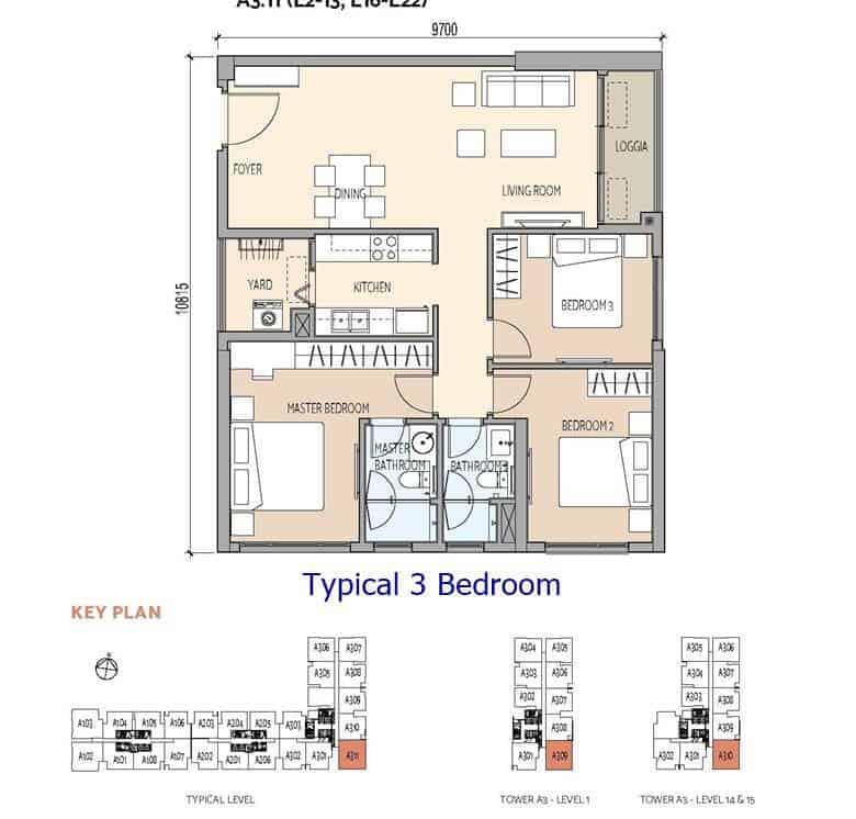 De La Sol - Typical 3 Bedroom