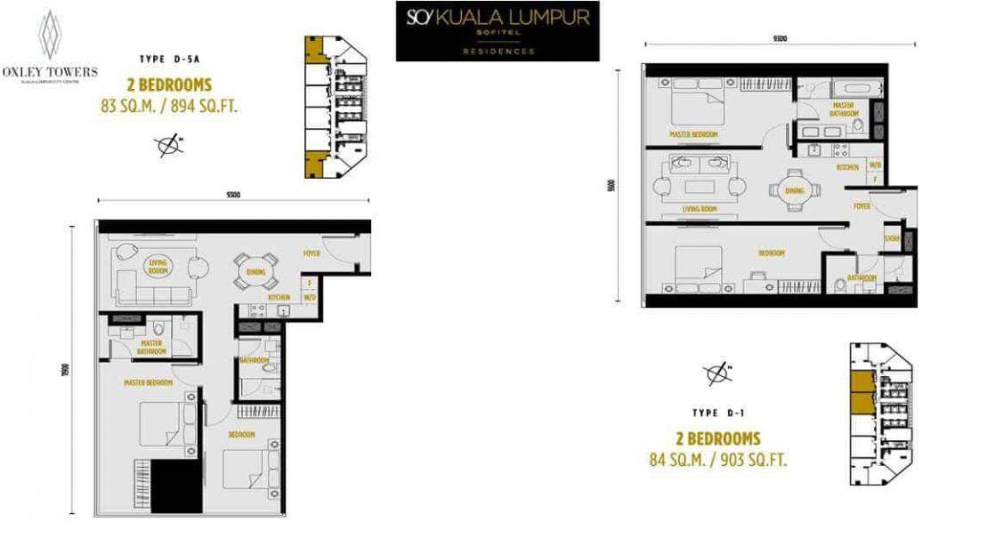 SO Sofitel Residences - 2 BR - 83 & 84 sqm