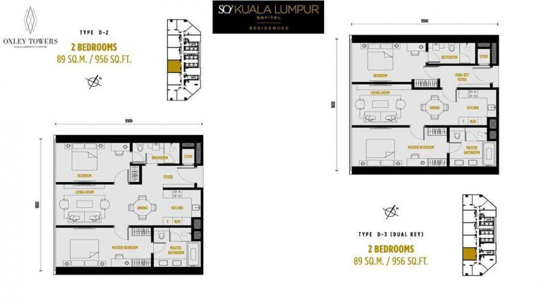 SO Sofitel Residences - 2 BR 956 sf