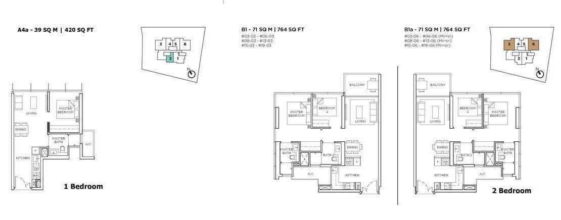 3 Cuscaden - 1 & 2 BR Floor Plan