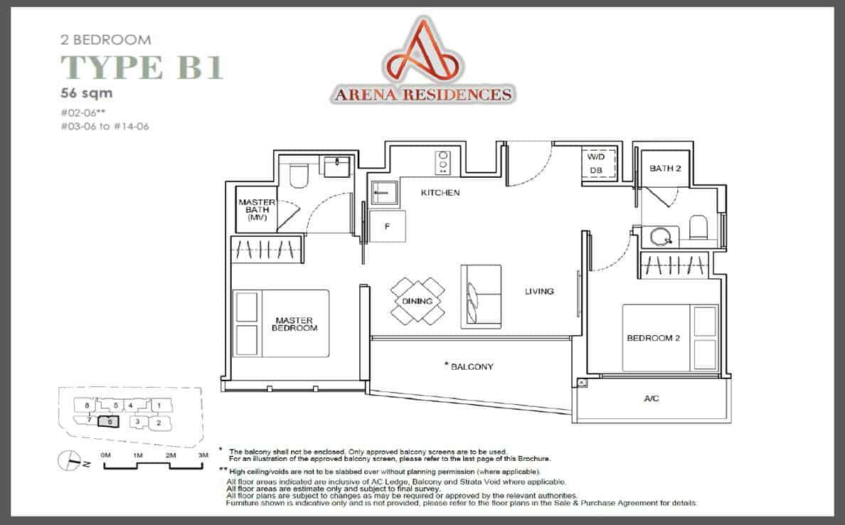Arena Residences - 2BR floor Plan