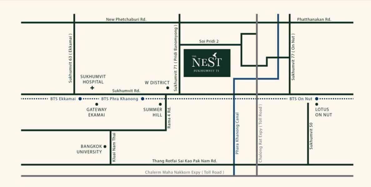 The Nest Sukhumvit 71 Location map