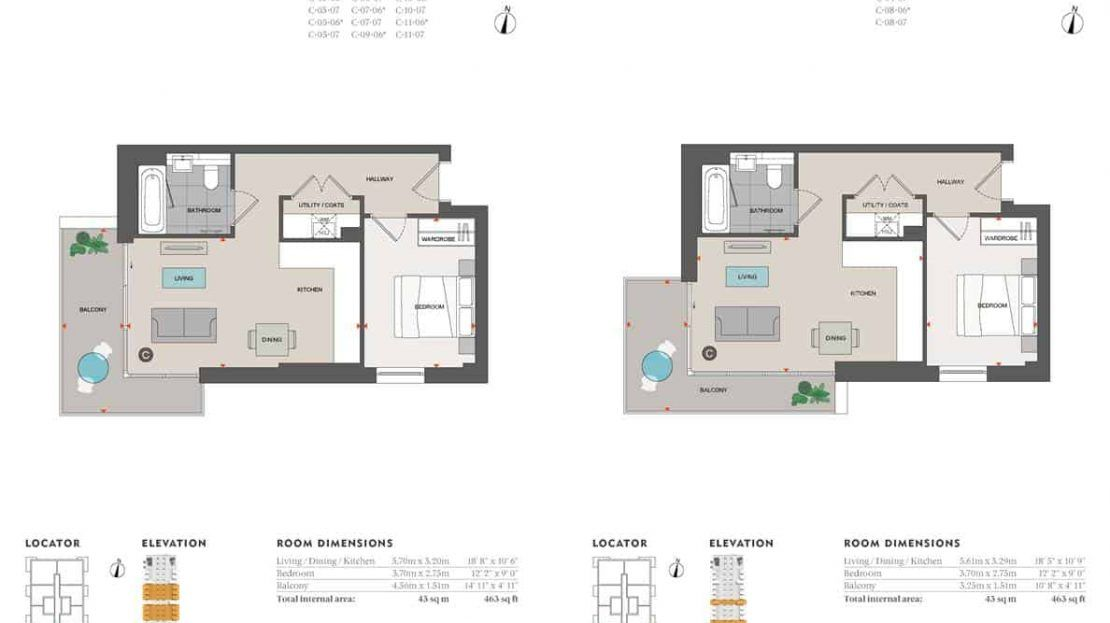 Agora Court - 1 Bedroom Floor Plan