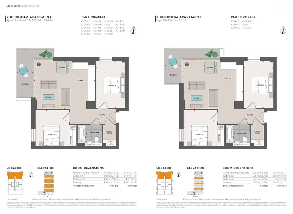 Agora Court - 2 Bedroom Floor Plan