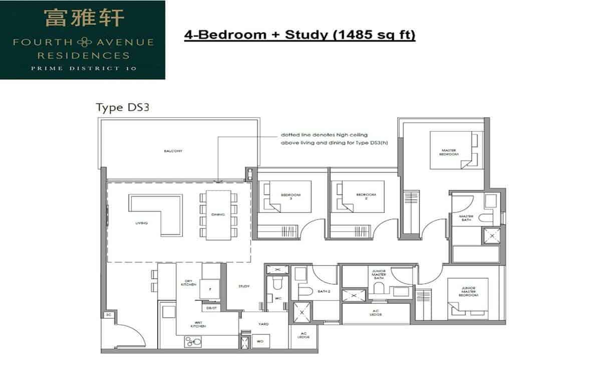 Fourth Avenue Residences - 4+Study Floor Plan