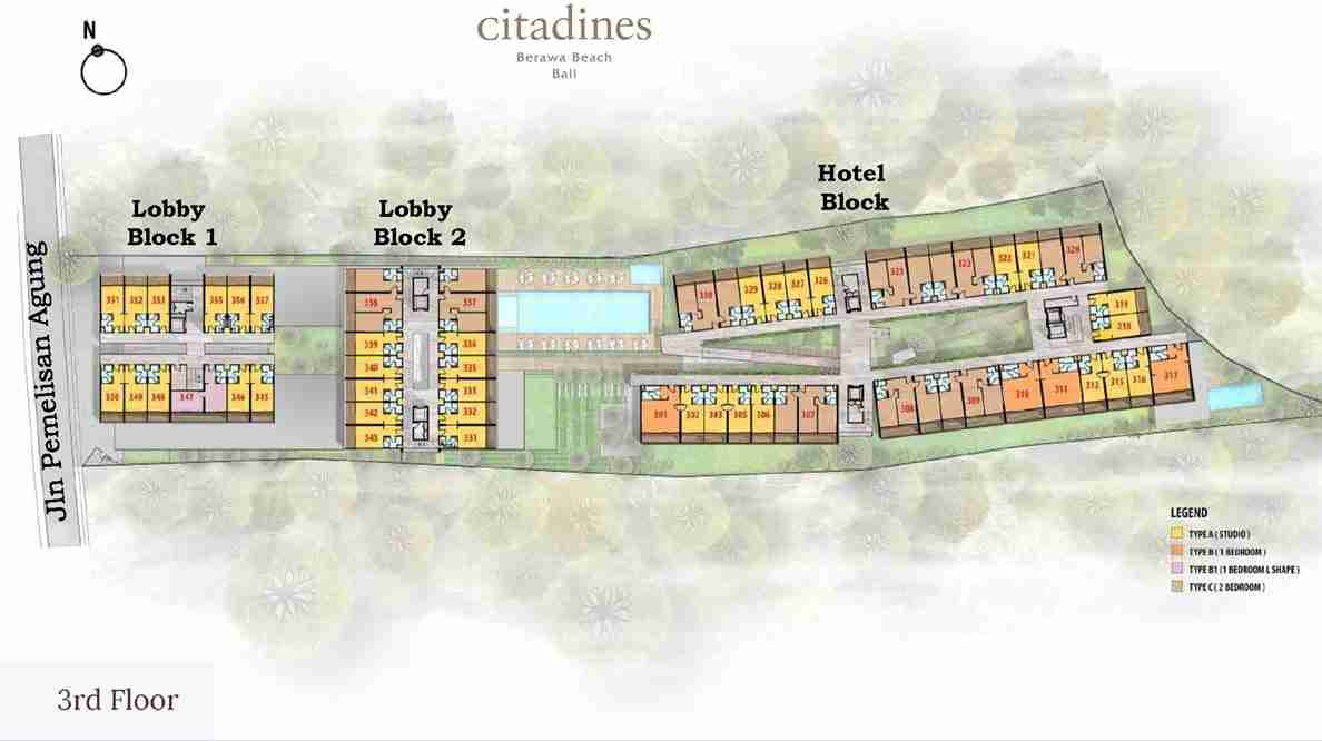 Citadines Berawa Beach Bali Hotel 3rd Floor Level Plan