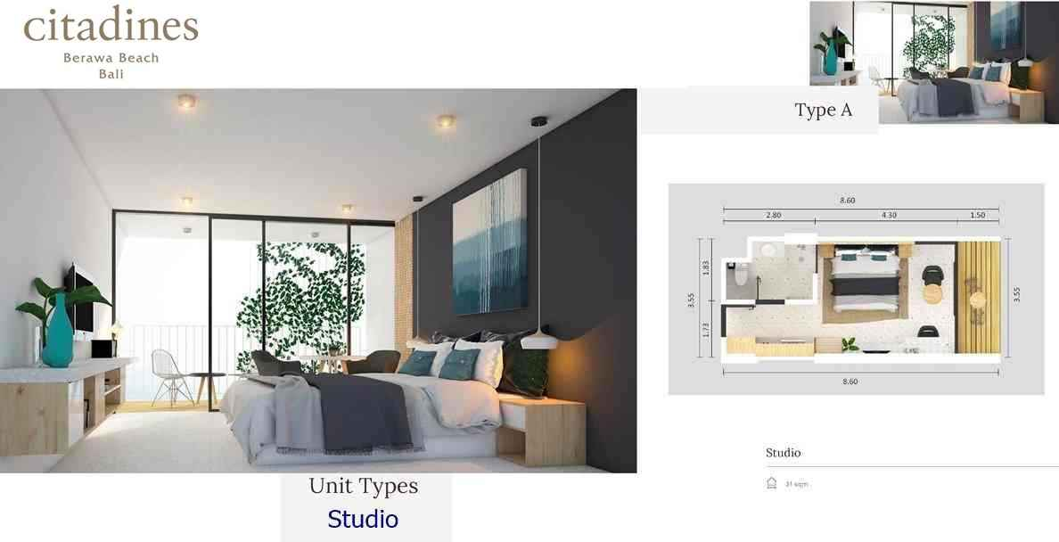 Citadines Berawa Beach Hotel - Type A Studio Floor Plan