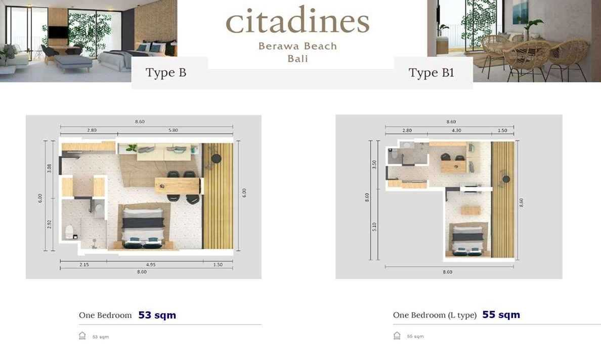 Citadines Berawa Beach Hotel - Type B 1BR floor plan