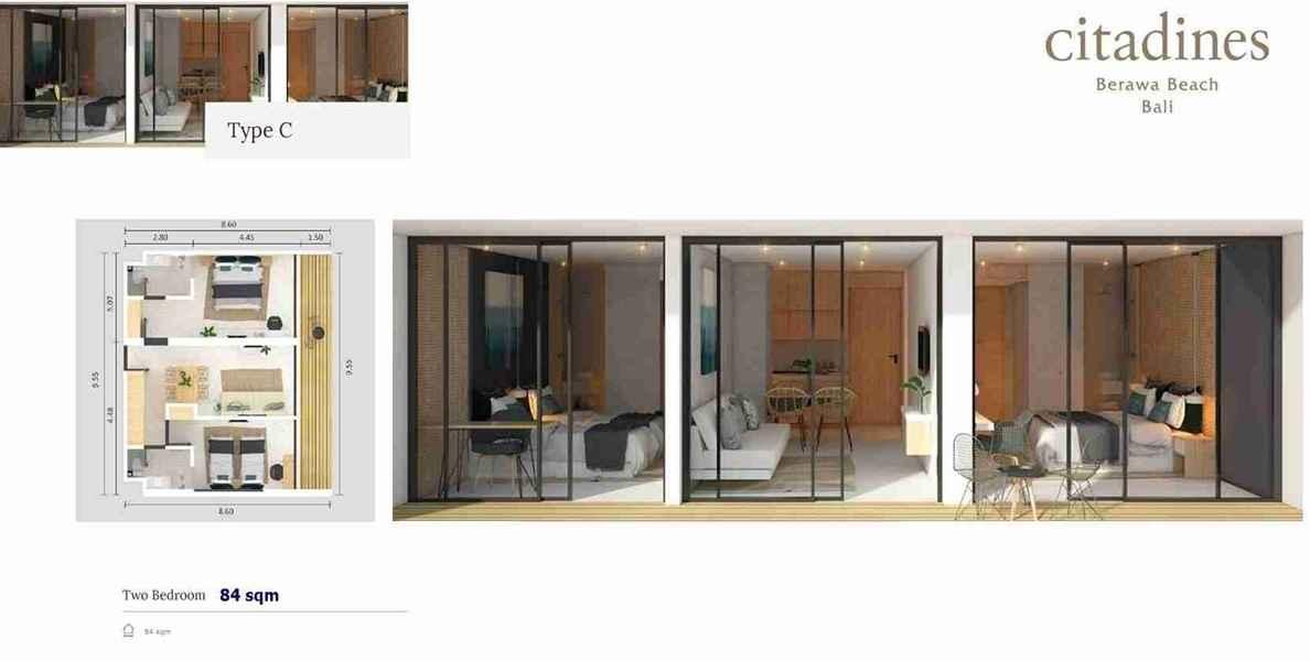 Citadines Berawa Beach Hotel - Type C floor plan