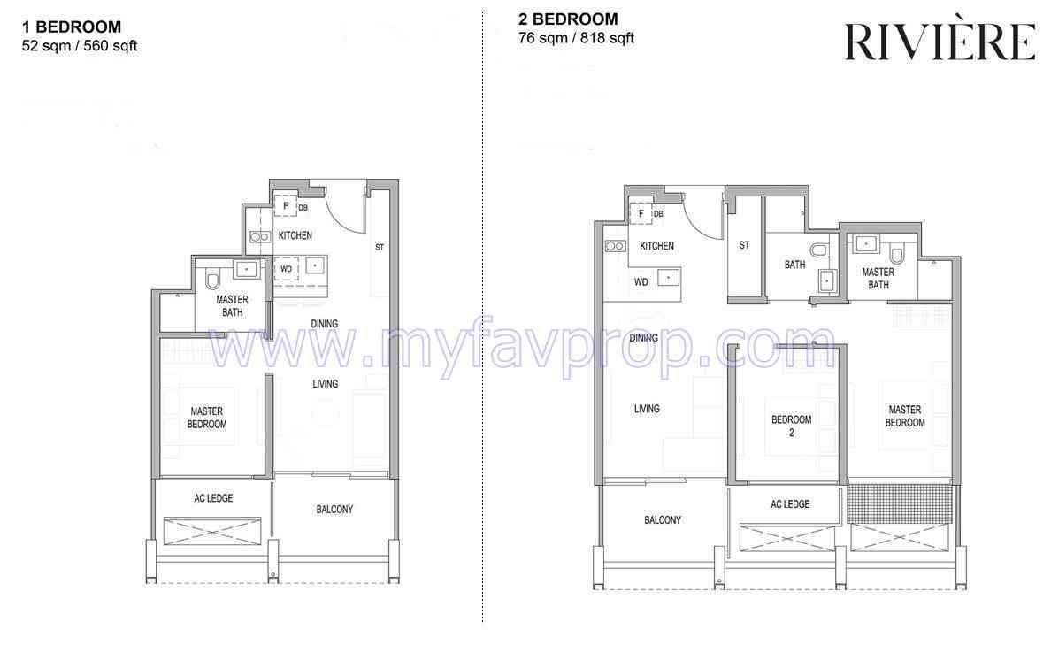 Riviere - 1 & 2 Bedroom Floor Plan