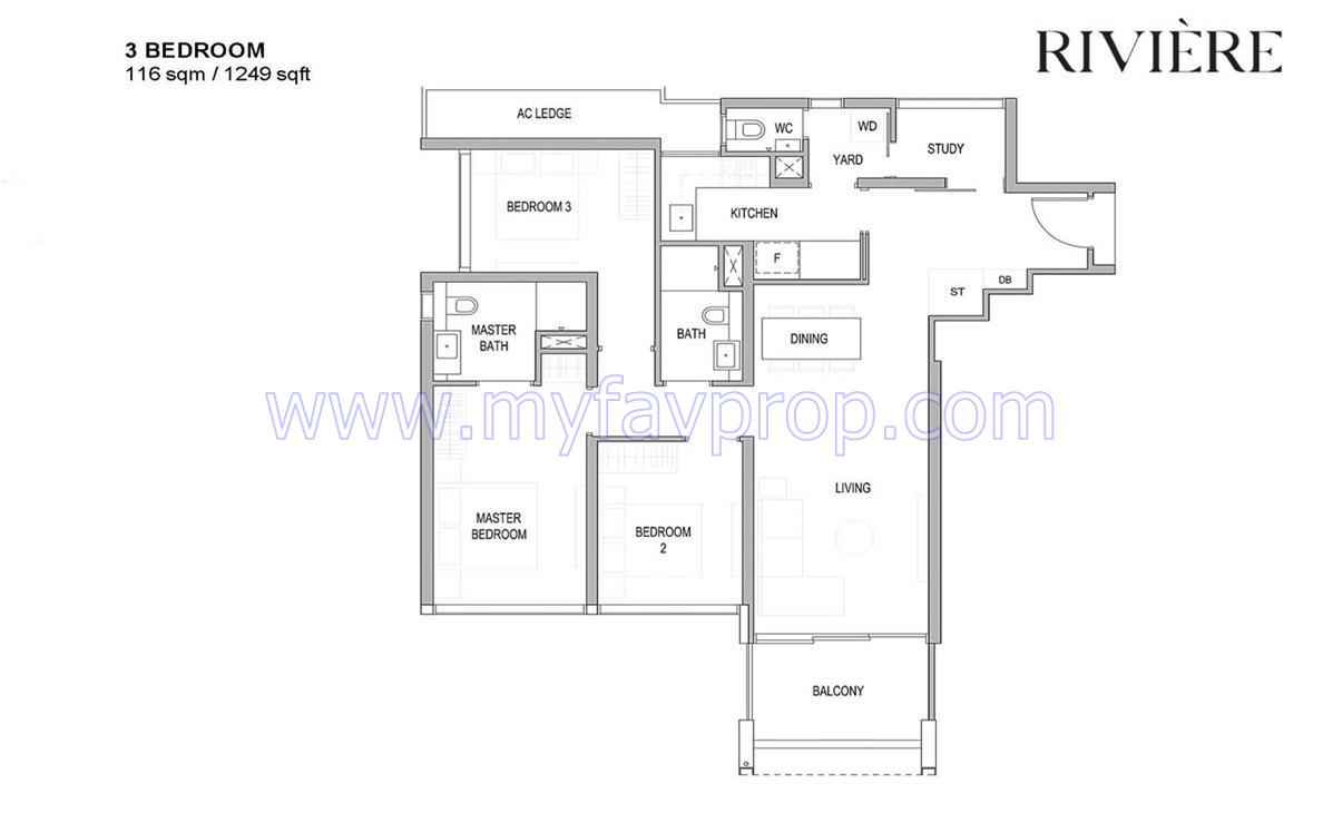 Riviere - 3 Bedroom Floor Plan
