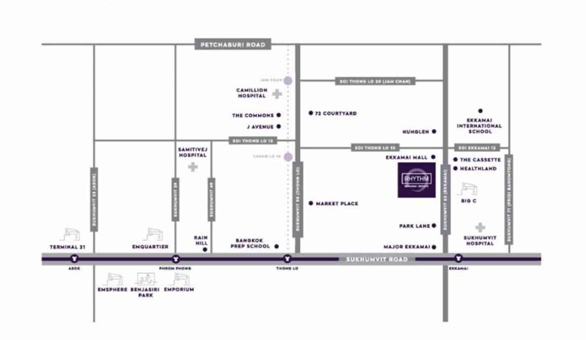 Rythm Ekkamai Estate - Location Map