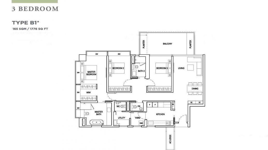 Boulevard 88 - 3 Bedroom Floor Plan