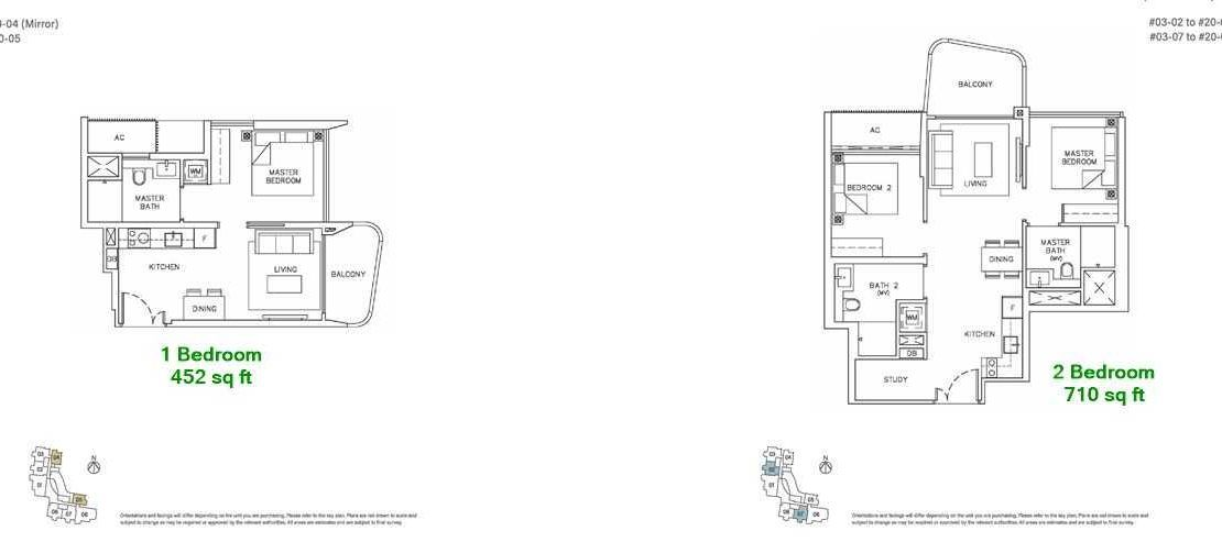 Coastline Residences - 1 Bedroom Floor Plan