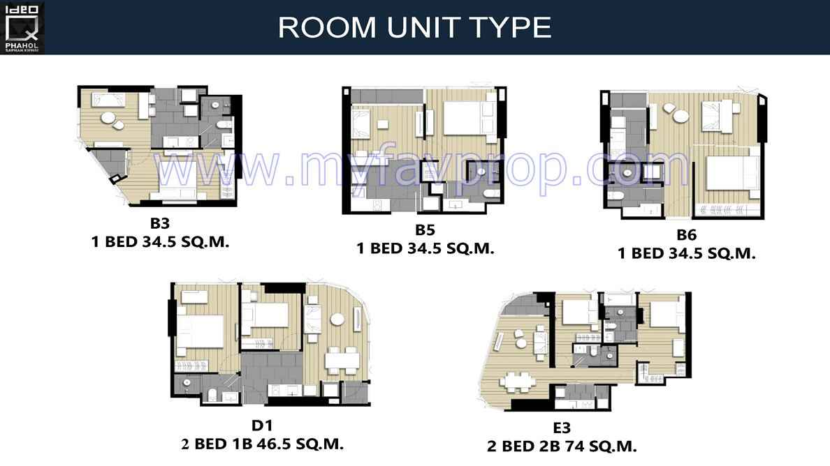 Ideo Q Phahol Saphan Kwai -1 & 2BR Floor Plan