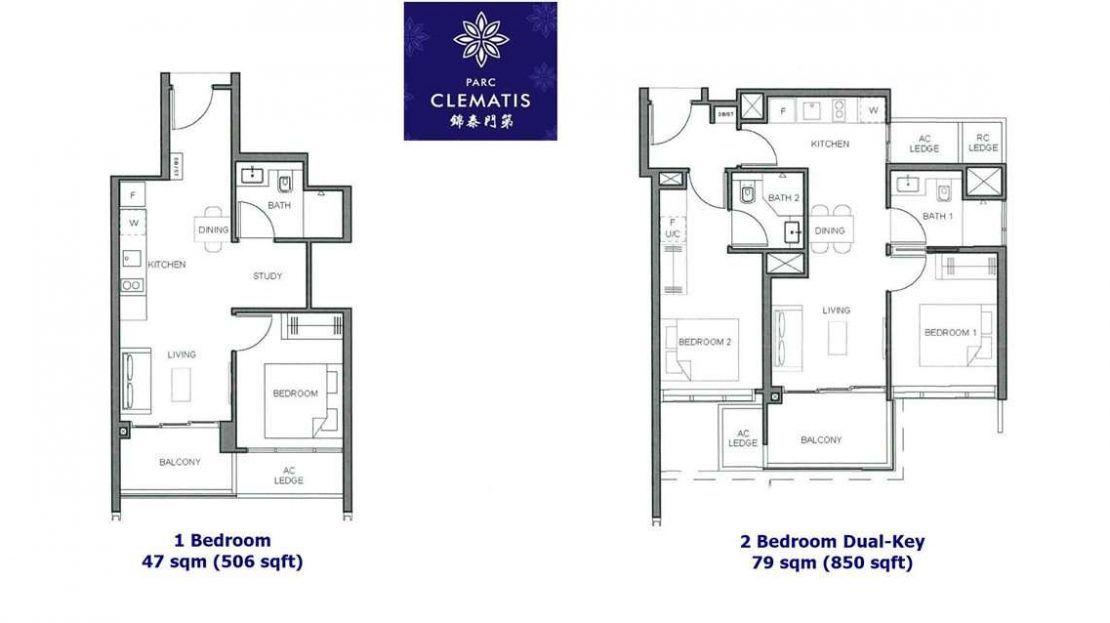Parc Clematis - 1 & 2 Bedroom floor plan