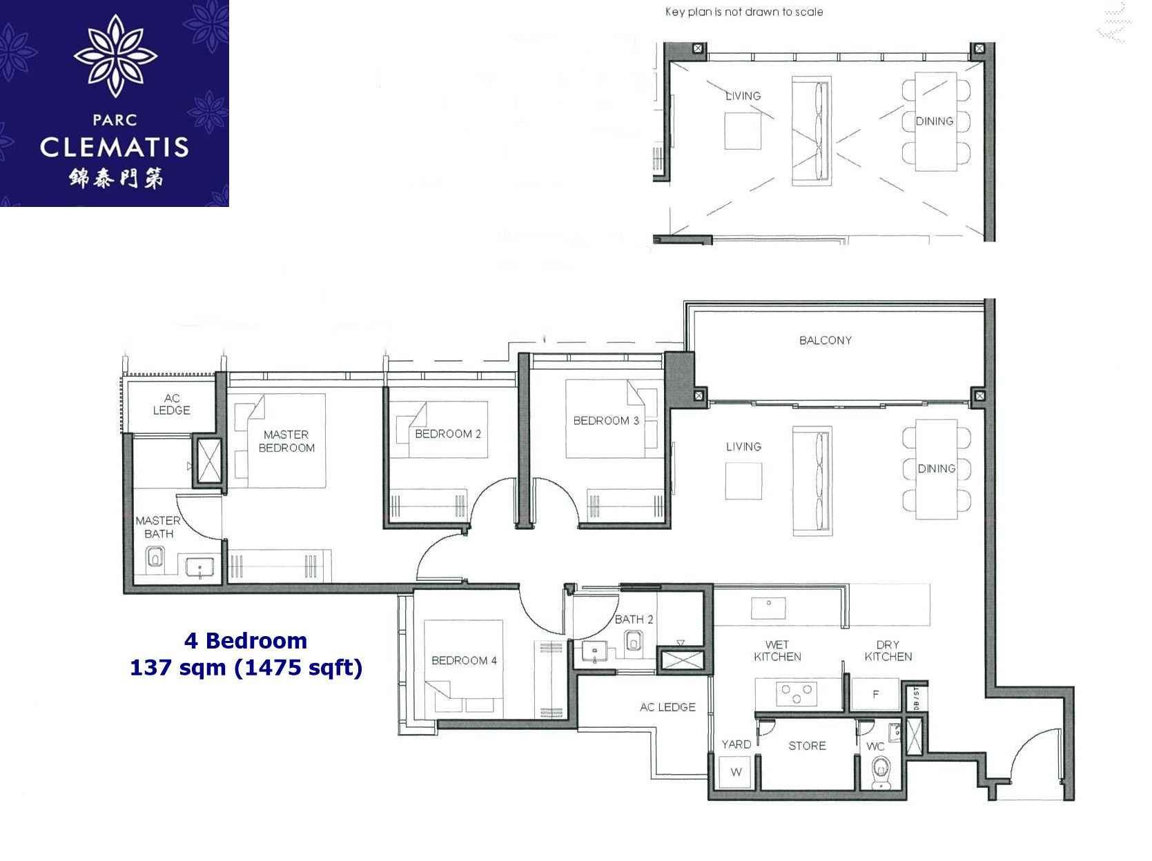 Parc Clematis - 4 Bedroom floor plan
