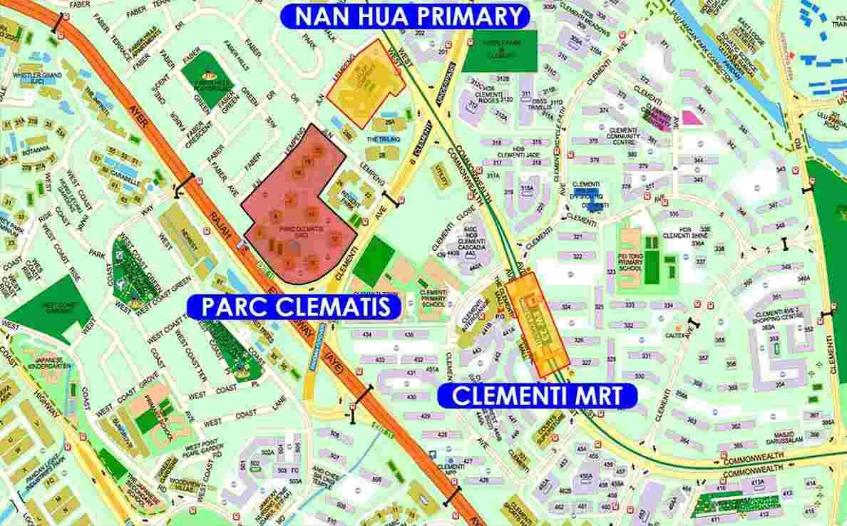 Parc Clematis - Location Map