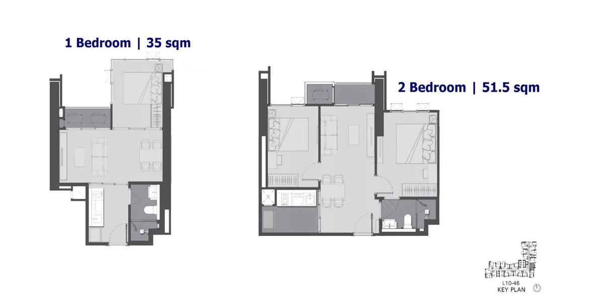 The Address Siam Ratchathewi - 1 Bedroom Floor Plan