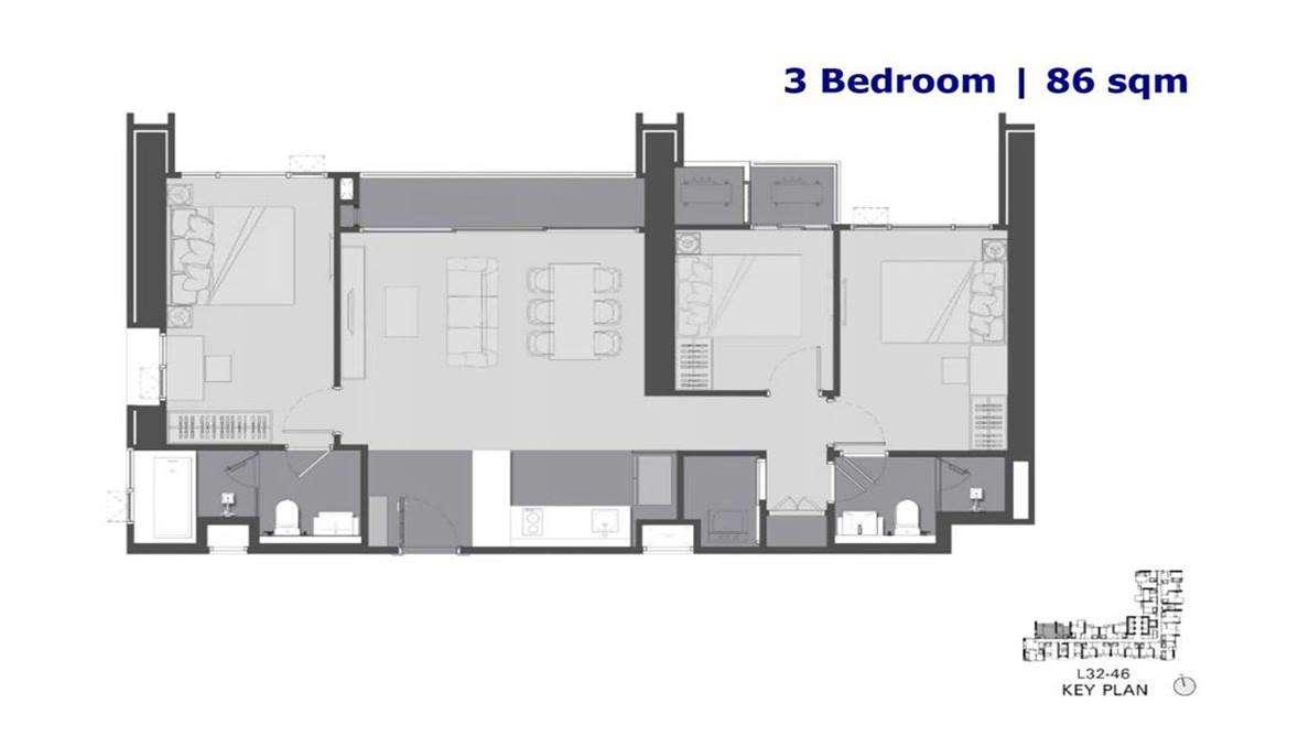 The Address Siam Ratchathewi - 3 Bedroom Floor Plan