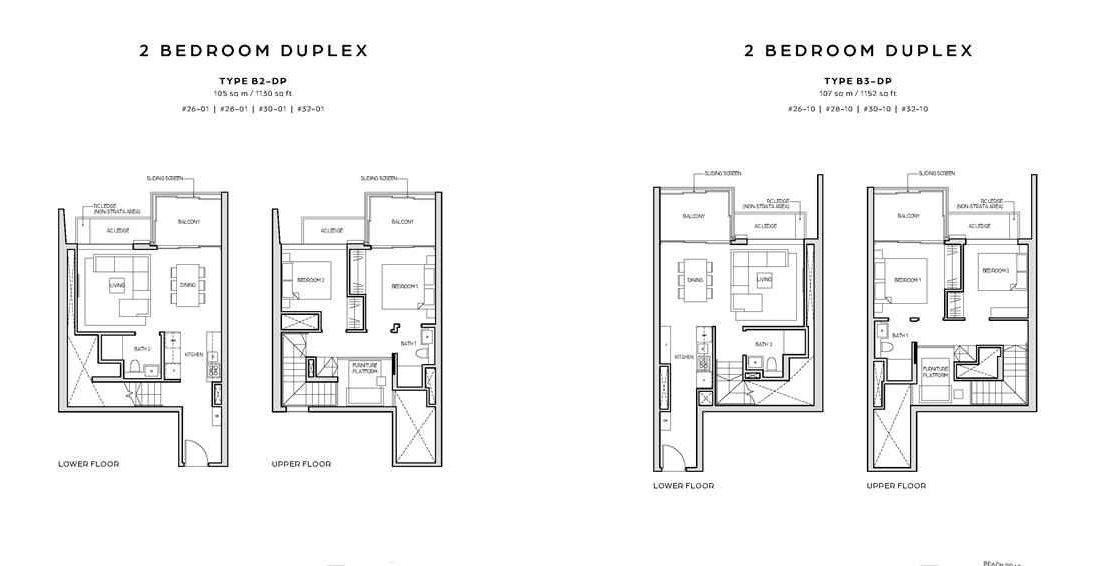 Midtown Bay - 2 Bedroom Duplex Floor Plan