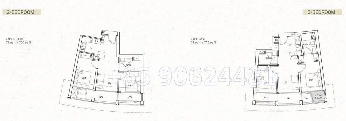 One Pearl Bank 2 Bedroom Floor Plan